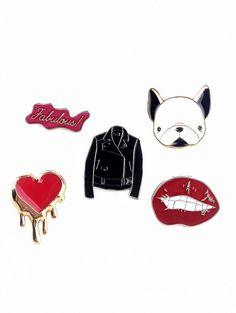 Dog Heart Lip Jacket Letters Brooch Set #shoes, #jewelry, #women, #men, #hats, #watches