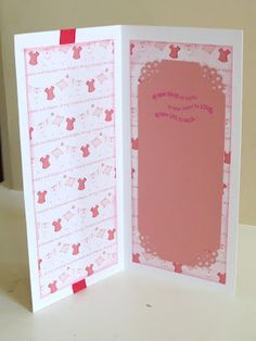 Inside a baby card created by me with DCWV and Stampin' Up! sentiment