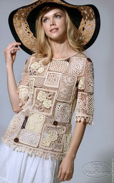 "Sweatshirts and sweaters handmade.  Fair Masters - handmade.  Buy a blouse ""patchwork crochet"".  Handmade.  Beige, milk"