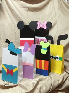 Mickey Mouse Clubhouse Disney Character Goodie bags by TotHeads Mickey Mouse Clubhouse Birthday Party, Mickey Party, Mickey Minnie Mouse, Mickey 1st Birthdays, Mickey First Birthday, Mickey Mouse Classroom, Fiesta Mickey Mouse, Kids Birthday Themes, Mickey And Friends