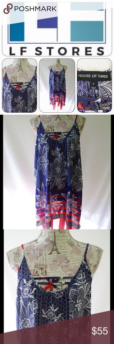 Coming Soon- LF House of Three Dress, Sz 8 This is a size 8 House of Three dress (from LF Store) in blue, red and white.  Sleeveless with spaghetti straps.  Strappy criss-cross at neckline.  Flowing shape; falls above knee.  More details to come. LF Stores Dresses Mini