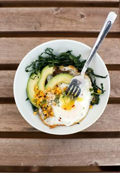 Fried Egg with Kale and Elotes by 1-2 Simple Cooking.