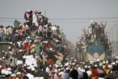 Overcrowded trains prepare to leave for the city after the final prayer ceremony of Bishwa Ijtema in Tongi, on the outskirts of Dhaka,, Bangladesh. (Reuters)