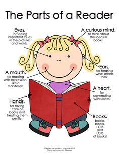 Poster:  The Parts of a Reader ... This set includes readers, writers, scientists, mathematicians, friends, and teachers.  Both boys and girls are represented, including varying skin tones.  $