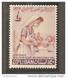 Liban Red Cross nurse and sick baby postage stamp