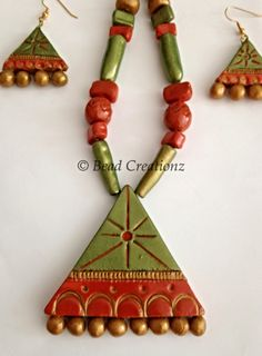 Green and Rust Polymer clay ~ Terracotta Necklace Set   Bead Creationz