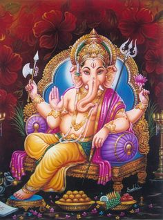 Painting of Ganesha - poster colour on paper