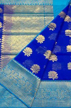 Shop online for Blue Handloom Banarasi Kora Silk Saree