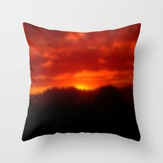 Red Sunset Throw Pillow by Grandmachismo - $20.00