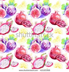 Seamless pattern of tropical fruits. Watercolor pattern with figs, dragon fruit…