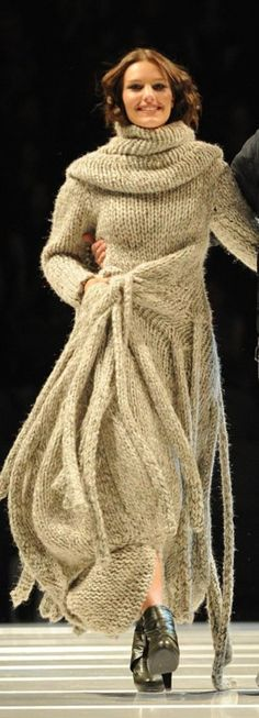 Chunky knitted cowl neck dress