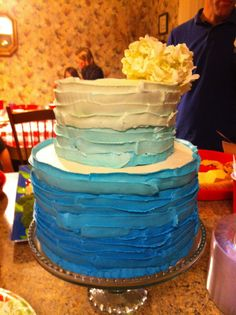 Gradient blue two-tier cake.  Ribbon like frosting.