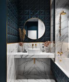 60 Gorgeous Bathroom Countertops Ideas That Make Your Bathroom Look Elegant – – House Design Ideas Bad Inspiration, Bathroom Inspiration, Interior Inspiration, Interior Ideas, Modern Bathroom, Small Bathroom, Bathroom Marble, Bathroom Ideas, Navy Bathroom