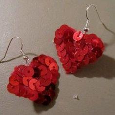 DIY Sequin Heart Earrings | AllFreeHolidayCrafts.com
