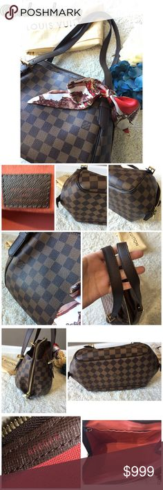 22ab6a4ee542 Louis Vuitton Damier Ebene Belem MM ⭐️Authentic stylish shoulder bag is  crafted of Louis Vuitton