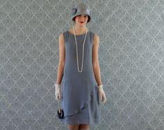 Dark grey chiffon flapper dress with ruffled skirt detail, prohibition era party dress, Great Gatsby dress, Roaring 20s costume, drop waist