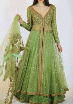 Buy Green Color Long Dress With Dupatta online, Latest Green Color Long Dress With Dupatta by Fashion Online Women's Ethnic Fashion, Indian Fashion, Women's Fashion, Fashion Clothes, Fashion Online, High Fashion, Pakistani Outfits, Indian Outfits, Indian Clothes