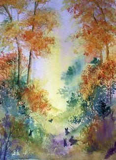 Rabbits in the Woods. Original Watercolour painting by Pamela J West by Pamela West | Artgallery.co.uk