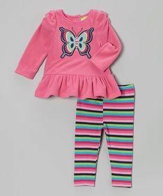 Look at this #zulilyfind! Pink Butterfly Tunic & Stripe Leggings - Infant #zulilyfinds