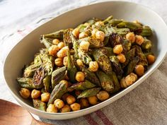 Get Roasted Okra and Chickpeas Recipe from Food Network