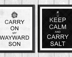 Supernatural SPN Fandom Set of Two Designer Original 8 x 10 Art Prints - Black White Keep Calm Carry Salt Wayward Son