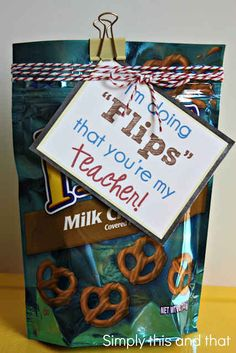 "Back to School Teacher Gift - ""I'm doing flips that you're my teacher!"" diy gift ideas M & M's Teacher Appreciation Gift love this idea! Back To School Teacher, My Teacher, First Day Of School, School Fun, School Ideas, School Stuff, Teacher Stuff, Teacher Prayer, Teacher Party"