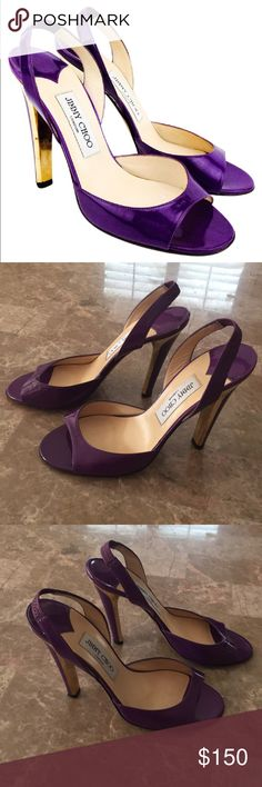 ce08ce2506e4 Spotted while shopping on Poshmark  Jimmy Choo Patent Peep Toe Purple Gold  Heel🌟!