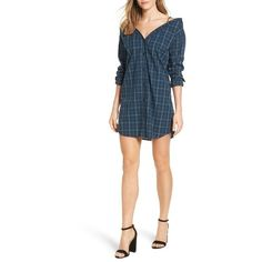 Women's Bailey 44 Anglin Off Shirtdress (2 625 ZAR) ❤ liked on Polyvore featuring dresses, plaid, collared dresses, tartan shirt dress, plaid collared dress, long shirt dress and collared shirt dress