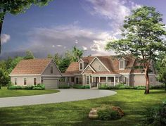 Country Style House Plans - 2629 Square Foot Home, 2 Story, 4 Bedroom and 3 3 Bath, 2 Garage Stalls by Monster House Plans - Plan 68-117