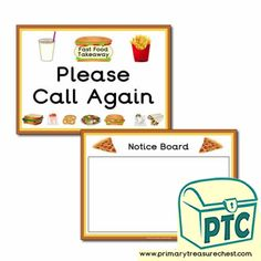 Fast Food Takeaway Role Play Resources - Primary Treasure Chest Teaching Activities, Teaching Ideas, Ourselves Topic, Candy Shop, Role Play, Treasure Chest, Boards, Sweets, Signs