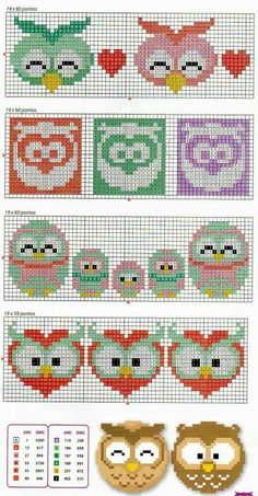 Cute Owls for tapistry or embroidery Cross Stitch Owl, Beaded Cross Stitch, Cross Stitch Borders, Cross Stitch Animals, Cross Stitch Charts, Cross Stitch Designs, Cross Stitching, Cross Stitch Embroidery, Embroidery Patterns