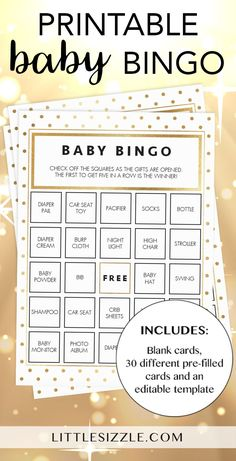 Gold glitter baby shower ideas by LittleSizzle. Play Baby Bingo with these neutral gold glitter bingo cards. The white and gold set has everything you need to play Baby Bingo in multiple ways. A blank card to be filled i Baby Bingo, Baby Shower Bingo, Baby Shower Printables, Baby Shower Invitations, Shower Party, Shower Gifts, Gold Shower, Gold Baby Showers, Free Printable Bingo Cards