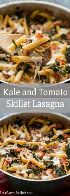 Kale and Tomato Skillet Lasagna- easy dinner ideas, pasta, recipes, recipe planning, meal planning, vegetables, ground beef, penne pasta, mozzarella cheese, food, dinner, main dish, main course, quick dinner via @LovePastaBlog