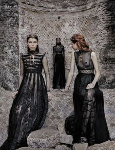 (Line) I chose this photo because the dress on the left uses differing lines to create broader shoulders and a taller stature.
