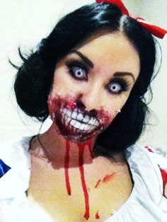 Snow white zombie halloween makeup on myself  #halloweenmakeup #snowwhite #macmakeup #makeup