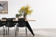 Bespoke black metal and timber dining table