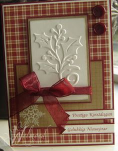 Christmas card, with small embossing folder. Nice layout on the card. Could also be used with a stamped image.