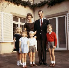 The royal family of Luxembourg: Grand Duke Jean with his wife, Grand Duchess Josephine Charlotte and their children (l to r) Marie Astrid, Margarethe or Helene [?], Jean, and Henri, 1966. The Grand Duke came to the throne of Luxembourg's constitutional monarchy in 1964 upon the abdication of his mother, Grand Duchess Charlotte. Josephine Charlotte is the daughter of King Leopold III and Queen Astrid of Belgium.