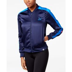 Puma T7 Satin Track Jacket ($35) ❤ liked on Polyvore featuring activewear, activewear jackets, blue, warm up jackets, track jacket, tracksuit jacket, track top and puma sportswear