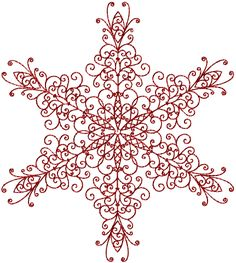 Snowflake Redwork 1 Machine Embroidery Design