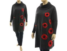 Oversized lagenlook knit cowl sweater, felt circles, anthracite red L-XXL