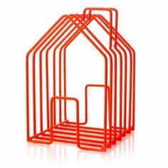 Neon Orange Wire House Magazine Rack