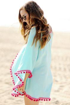 LUCLUC Blue Cloak-style Small Pompons V-neck Mini Dress - LUCLUC