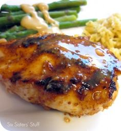 Heavenly Honey Mustard Chicken.  In a small bowl combine 2 tbsp honey & 1 tbsp Dijon mustard & 1 tbsp lemon juice.    Broil or grill your chicken pieces    and baste with the honey mustard mixture.    Heavenly!