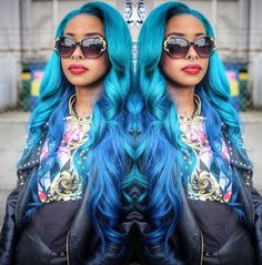 blue haired fashionista