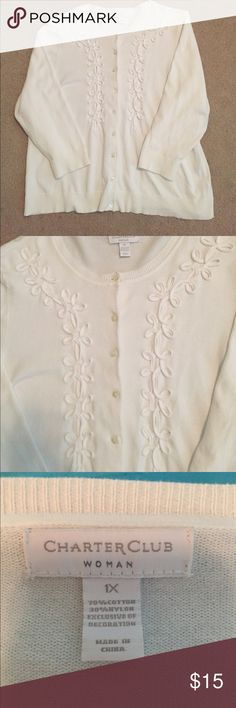 FINAL SALE!  Charter Club White Cardigan Cute White cotton blend cardigan with scroll detailing on front.  Perfect for summer. Size 1X Charter Club Sweaters Cardigans