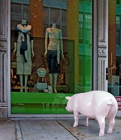 Pig sculpture in Meatpacking District NYC...   'Up The Hill' photo by Gary Marlon Suson