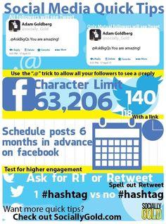 Love this infograph!  Social Media Quick Tips-  http://sociallygold.com/ #infographics #socbiz