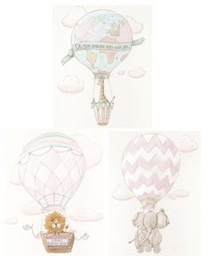 Blush Pink Hot Air Balloons Personalized by NurseryRembrandts