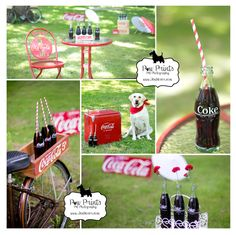 Paw Prints Pet Photography www.JenMoser.com photo booth at pupnic & ice cream social at Shoaff Park in Fort Wayne, Indiana Summer Coca-Cola themed bistro table, bicycle, Coke bottles, Coke chest